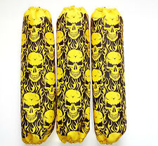 Shock Protector Covers Polaris Pro R Pro X Yellow Skulls Snowmobile Set of 3