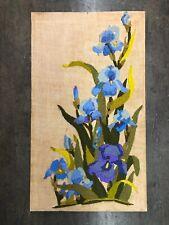 Vintage 70s Floral Orchids Large Crewel Needlepoint Embroidery Artwork Unframed