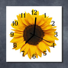 Glass Wall Clock Kitchen Clocks 30x30 cm silent Sunflower Yellow