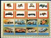 Ajman -.Old autocars 16 st.in M/Sh,-Imperf-pink border- MNH, AJ 039a