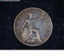1917 Georgivs V DEL Britt OMN REX FID DEF IND IMP  Penny ( 55-136 )