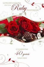 Congratulazioni per il vostro RUBY WEDDING ANNIVERSARIO quarantesimo Rose Design CARD