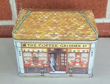 """HOUSE SHAPED VINTAGE METAL COFFEE TIN STORAGE SEWING COLLECTIBLE 5-1/2"""" X 3-1/4"""""""