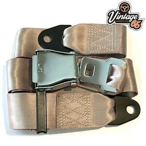 Classic Car 2 Point Chrome Buckle Lap Seat Belt Adjustable Front Rear Beige