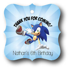 24 Sonic The Hedgehog Birthday Party Favor Tags