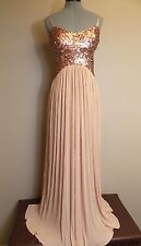 Jessica Simpson Gold Sequin Cut-Out Pleated Gown size 8