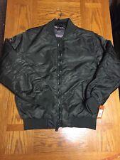 Ben Sherman Flight Jacket Green HOODLESS Full Zip Medium Nwt Bomber 180$