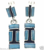 TAXCO MEXICAN STERLING SILVER LARIMAR EARRINGS MEXICO