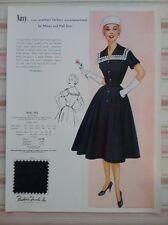 Fashion Frocks Inc Dress Sample Style Card #562 - Navy One-Piece - Vintage 50s