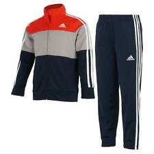 NWT ADIDAS Boy's Tricot Lightweight Jacket and Pants Set, Red/Gray/Navy