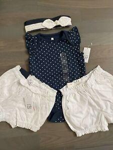 NWT Baby Gap girl blue polka dot SUMMER 3-piece white ruffle shorts SET 3 6 9 12
