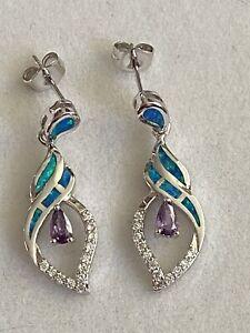 Art Deco Style 925 Silver Drop Dangle Earrings Blue Opal Inlay With Amethyst