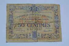 BILLET 50 CENTIMES CHAMBRE DE COMMERCE D'ÉVREUX 1919