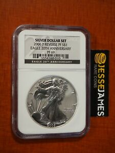 2006 P REVERSE PROOF SILVER EAGLE NGC PF69 FROM 20TH ANNIVERSARY SET BLACK LABEL