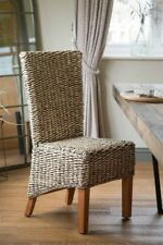 RATTAN/WICKER DINING ROOM CHAIR – BANANA LEAF WEAVE SOLID MAHOGANY WOOD FRAME