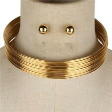 """15"""" gold wire layer multi strand choker necklace .50"""" earrings 086"""