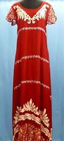 Women's Long Dress Red White Batik Cap Sleeves Maxi Mumu Casual Summer Dress