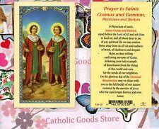 St Cosmas and Damian - Prayer to Saints Cosmas and Damian - Laminated  Holy Card