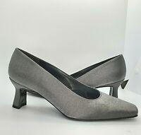 Stuart Weitzman 7 B M Shiny Silver High Heels Pumps Shoes Glittery Kitten