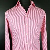 Eton Mens Formal Shirt 15.5 39 Long Sleeve Pink Regular Striped Cotton