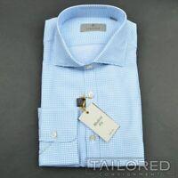 NWT - CANALI 1934 Recent Blue Geometric 100% Cotton Casual Dress Shirt - SMALL