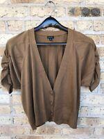 Nine West Sweater Large Brown Cardigan Khaki Ruched Sleeves