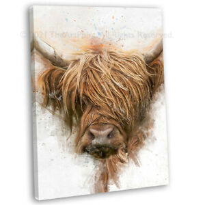Highland Cow Portrait Watercolour Canvas Print Framed Wall Art Picture