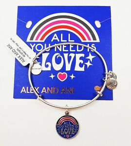 ALEX and ANI  Rafaelian Silver All You Nee Is Love Bracelet with Charms
