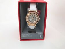 White Strap Case w/ Crystals Watch Beautiful Ladies Timex Rose Gold Tone