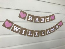 Rustic Baby Shower Decoration Personalised Bunting Banner Custom Made