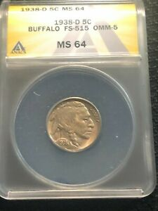 1938-D Buffalo Nickel  ANACS MS-64 Condition No Reserve FS-515 OMM-5