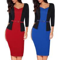 Women Elegant Workwear Business Office Formal Belt Party Bodycon Pencil OL Dress
