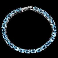 GENUINE AAA SWISS BLUE TOPAZ OVAL STERLING 925 SILVER BRACELET 7.5 INCH.