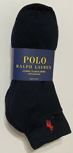 Polo Ralph Lauren Athletic 6-Pair Men's Quarter Crew Socks Navy with Red Pony