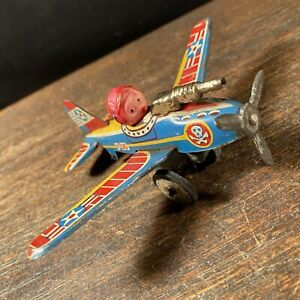 Vintage Tin Toy Airplane Bandai F20 Skull Military Made In Japan PRIORITY MAIL