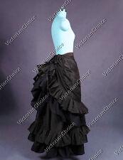 Victorian Steampunk Gothic Black Pleated Bustle Skirt Reenactment Clothing K034