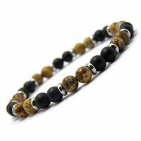 Bracelet homme/femme perles 6mm naturelle Pierre de gemmes métal inoxydable/inox
