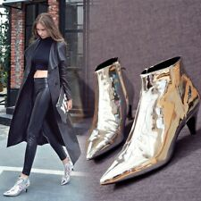 Brogue Womens Ankle Boots High Heel Pointy Toe Shiny Party Sexy Zipper Shoes Sz
