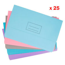25 x A4 Half Flap Rigid Card Document Wallets Folders File Assorted Colours
