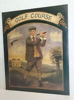 """Vintage Art Print Poster GOLF COURSE Young Man Playing Learning Golf 20x16"""""""