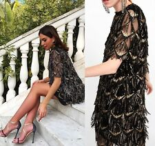 ZARA SEQUINNED FRINGE DRESS BLACK GOLD REF 8516/552 S 8 UK 36 EU 4 US