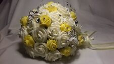Bride/Bridesmaid Yellow & Cream Artificial Teardrop Bouquet