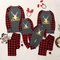 Family Matching Christmas Pajamas Set Women Baby Kids Elk Sleepwear Nightwear