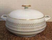Eschenbach Bavaria White Gold Grey Dots COVERED VEGETABLE CASSEROLE Dish 2 Qts