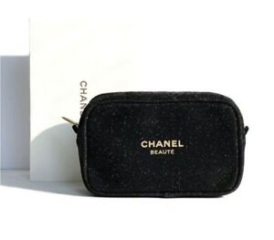 New & Boxed, CHANEL Black Bling Makeup Bag