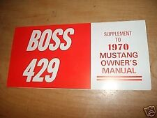 1970 FORD MUSTANG BOSS 429 OWNERS MANUAL SUPPLEMENT