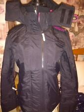 womens superdry jacket with hood black/pink small bnwt