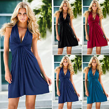 Ladies Plunge V Neck Sleeveless Skater Wrap Dress Casual Party Cocktail Dresses