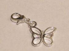 Lobster Clip Silver Butterfly Charm Fits Link Bracelet Links Necklace