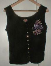 Women's Harley-Davidson Motorcycle Black Sleeveless Tank 9-Snap Shirt w/Flowers